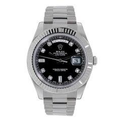 Certified Rolex Day-Date II 18 Karat White Gold Black Diamond Dial Watch 218239