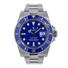 Certified Rolex Submariner White Gold Blue Ceramic Watch 116619