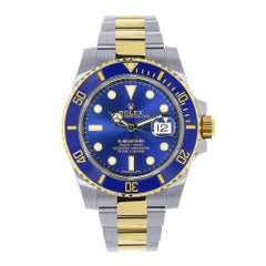 Rolex Submariner Stainless Steel Yellow Gold Watch Blue Dial 116613