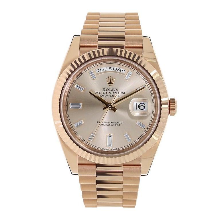 Rolex Day-Date Rose Gold President Sundust Diamond Dial Watch 228235