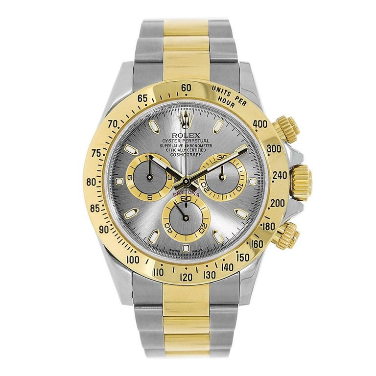 Rolex Cosmograph Daytona Stainless Steel and Yellow Gold Watch Silver 116523