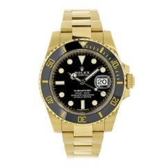 Certified Rolex Submariner 18 Karat Yellow Gold Black Ceramic Watch 116618