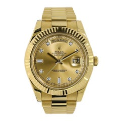 Rolex Day-Date II Yellow Gold Champagne Diamond Dial Watch 218238