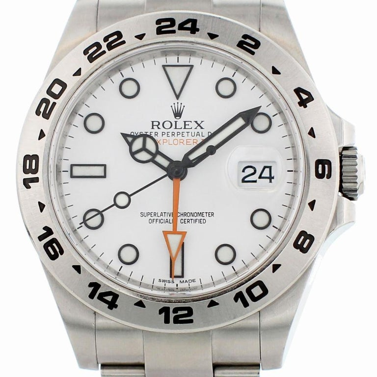 Certified Rolex Explorer II 216570 with Band and White Dial