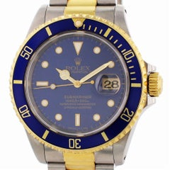 Certified Rolex Submariner 16613 with Band and Blue Dial