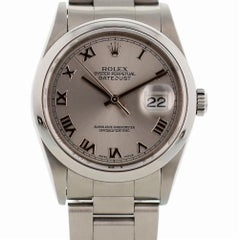 Certified Rolex Datejust 16200 with Band and Silver Dial