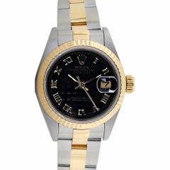 Certified: Rolex Ladies 18kt Gold and SS Datejust w/ Black Pyramid Dial - 69173