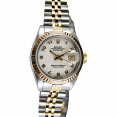 Certified: Rolex Ladies 18kt Gold and SS Datejust White Jubilee Arabic - 69173