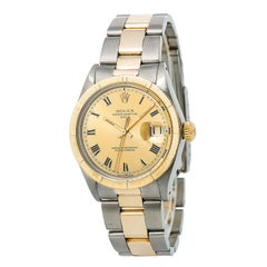 Certified Rolex Date 1501 Men's Automatic Watch Champagne Dial Two-Tone SS