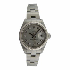 Certified Rolex 18 Karat WG and Stainless Datejust Silver Diamond Dial 69174