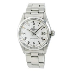 Certified Rolex Date 1500 Men's Automatic Watch White Dial Stainless Steel