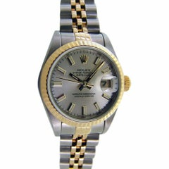 Certified Rolex, Ladies 18 Karat Gold and SS Datejust Silver Index Dial, 79173
