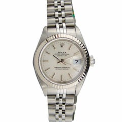 Certified Rolex Ladies 18 Karat WG & SS Datejust Silver Stick Dial 79174