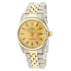 Certified: Rolex Datejust 16013 Men's Automatic Watch 18kYG & SS Gold Dial 36MM