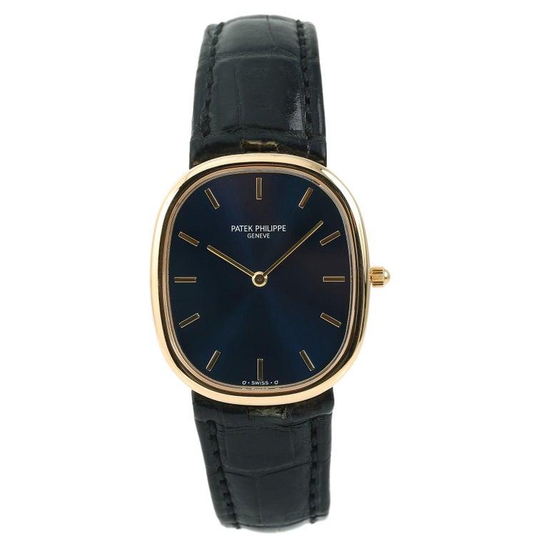 Certified Patek Philippe 3738/100J Men's Automatic Watch Blue Dial 18 Karat Gold