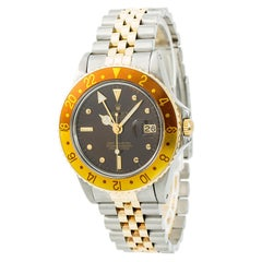 Certified: Rolex GMT-Master 16753 Root Beer Nipple Dial Mens Automatic Watch 18K