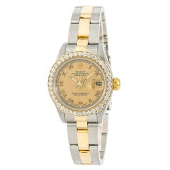 Certified: Rolex Datejust 69163 Women's Automatic Watch 18K YG and SS Gold Dial