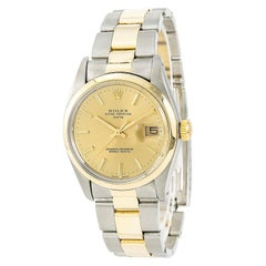 Certified: Rolex Date 1500 Mens Automatic Watch Champagne Dial Two Tone 18K YG