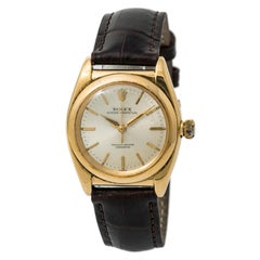 Certified: Rolex Bubbleback Mens Automatic Vintage Watch Champagne Dial 18K YG