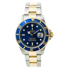 Certified Rolex Submariner Engraved Men's Automatic Watch Blue Dial Two-Tone