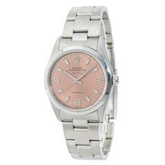 Certified Rolex Air King 14000M Men's Automatic Watch SS Salmon Dial