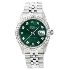 Certified: Rolex Datejust Men's Automatic Watch 1.50CT Diamond Bezel Green Dial