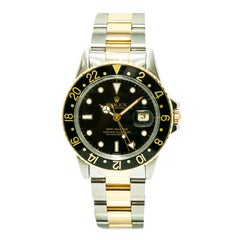 Certified Rolex GMT Master with Band, Yellow-Gold Bezel and Black Dial