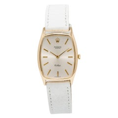 Certified Rolex Cellini with Band, Yellow-Gold Bezel and Silver Dial