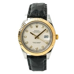 Certified Rolex Datejust II with Band, Yellow-Gold Bezel and Silver Dial