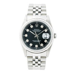 Certified Rolex Datejust 16220 Men's Automatic Watch Stainless Steel Black Dial