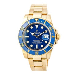 Certified Rolex Submariner with Band, Yellow Gold Bezel and Blue Dial