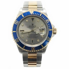 Rolex Submariner 16613 With 7.7 in. Band & Silver Dial
