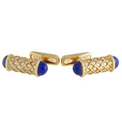 Mauboussin 18 Karat Yellow Gold Diamond and Lapis Cylinder Cufflinks