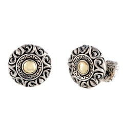 Scott Kay Silver and Yellow Gold-Plated Round Cufflinks