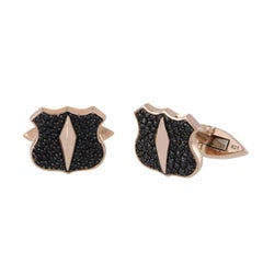 Stephen Webster Highwayman Rose Gold Plated Silver and Black Sapphire Cufflinks