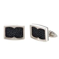 Stephen Webster Thorn Silver Black Sapphire Pave Rectangle Cufflinks