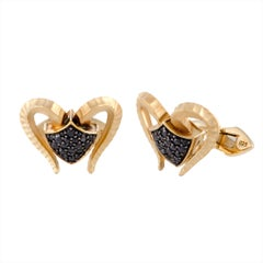 Stephen Webster Men's Silver Yellow Gold-Plated, Sapphire Pave Aries Cufflinks