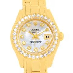 Rolex Pearlmaster 18K Yellow Gold MOP Diamond Dial Bezel Watch 69298