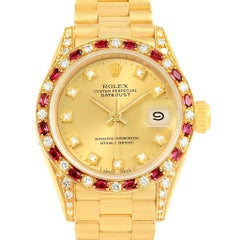Rolex President Datejust Yellow Gold Diamond Ruby Ladies Watch 69198