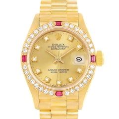 Rolex President Datejust Yellow Gold Diamonds Rubies Ladies Watch 69068