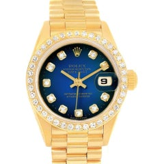 Rolex President Datejust Yellow Gold Vignette Diamond Ladies Watch 69138