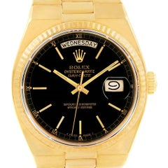 Rolex Oysterquartz President Day-Date Yellow Gold Black Dial Watch 19018