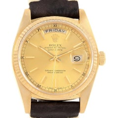 Rolex President Day-Date Yellow Gold Brown Strap Men's Watch 18038