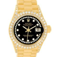 Rolex President Datejust Yellow Gold String Diamond Ladies Watch 69238