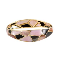 Polished Rock Candy 18 Karat Yellow Gold Mother of Pearl and Onyx Mosaic Bangle