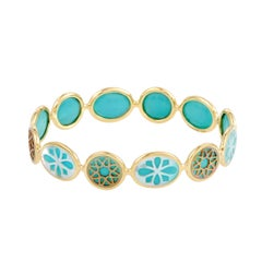 Polished Rock Candy 18 Karat Yellow Gold Mother of Pearl and Turquoise Bangle