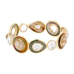 Ondine 18 Karat Yellow Rutilated Quartz and Mother of Pearl Bangle Bracelet