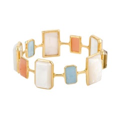 Rock Candy 18 Karat Gold Multicolored Stones and Mother of Pearl Bangle Bracelet