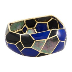Polished Rock Candy 18 Karat Yellow Gold Mother of Pearl Onyx and Lapis Bangle