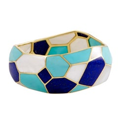 Polished Rock Candy 18 Karat Gold Mother of Pearl Turquoise and Lapis Bangle